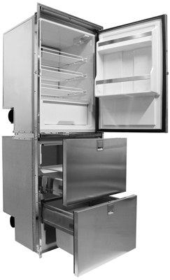 Isotherm Cruise 320 Combi Regrigerator/Freezer/Freezer - Stainless Steel